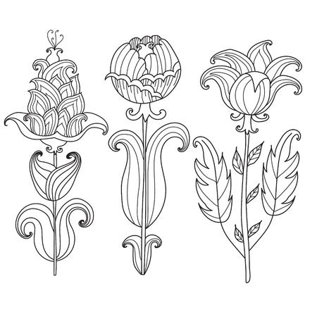 Tulpen, Blumen, Zierpflanzen Schwarz-Weiß-Färbung Pages.vector ...