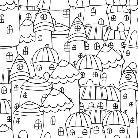 Casas Blanco Y Negro, Sin Patrón En Vector En Estilo Doodle. Páginas ...