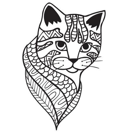 Cat anti-stress kleurboek voor volwassenen. Zwart en wit hand getrokken vector. doodle print met etnische patronen. ontwerp voor geestelijke ontspanning voor volwassenen.