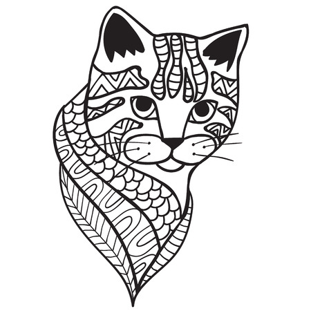 Cat anti-stress coloring book for adults. Black and white hand drawn vector. doodle print with ethnic patterns. design for spiritual relaxation for adults. Illustration