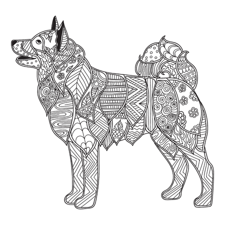 Dog Adult antistress or children coloring page. Hand drawn animal doodle. Sketch for tattoo, poster, print, t-shirt . Vector illustration