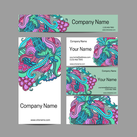 flower ornament: Doodl flower style business card set. Vector background. Card or invitation. Invitation template, save the date. Corporate identity.