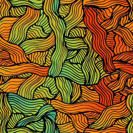 clots: Vector abstract hand-drawn waves simless pattern, wavy background. Colorful waves backdrop Illustration