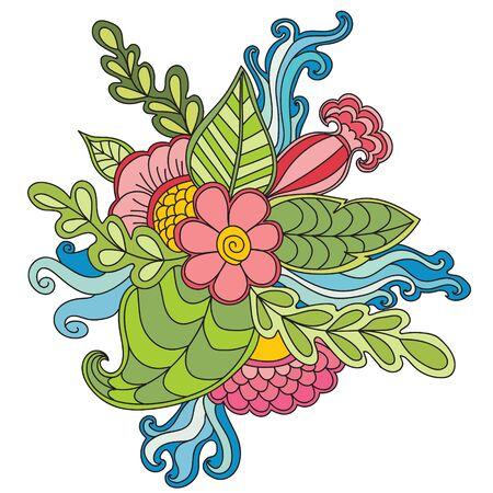 marcos redondos: dibujado a mano étnica ornamentales artística modelada en el marco floral del doodle style.Abstract vector naturaleza decorativa fondos florales. Diseño del marco del modelo para la tarjeta. Vectores