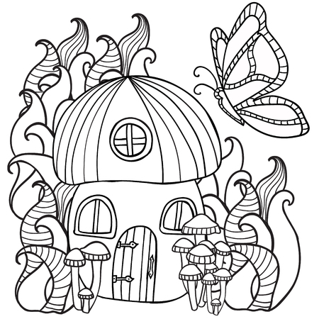 Coloring Pages Mushroom House With A Butterfly In The Forest ...
