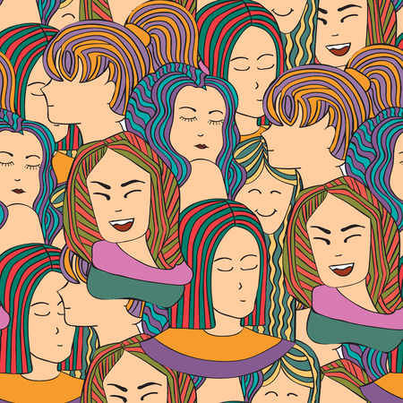 unrecognizable person: Seamless vector pattern with a crowd of people women,  girls in colorful clothes