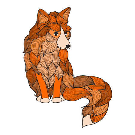 used ornament: Fox with waves ornament. Vector. It can be used for tattoo or t-shirt logo