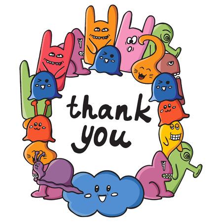 Rahmen von Monstern mit Worten danke. Lustige Monster Graffiti. Hand gezeichnete Skizze Kunst. Doodle Vektor Illustration. kann für Hintergründe, T-Shirts verwendet werden