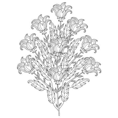 Bosquejo Blanco Y Negro Flower.Vector Flowers.Template Decorativo ...