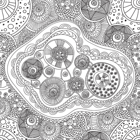 Coloring Pages For Adults Coloring Book.Seamless Black And White ...