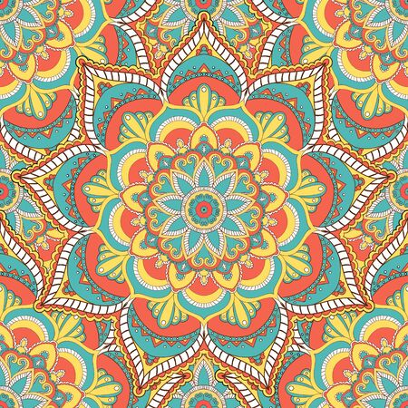 Mandala vector seamless pattern. Vintage decorative elements. Hand drawn tiles background. Islam and Arabic and Indian and turkish and pakistan and chinese and ottoman motifs. Stock Illustratie