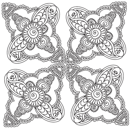 mhendi: Vector abstract flowers set of brochures in doodle style. Vector design templates vintage frames and backgrounds. Use for printed materials, signs, elements, web sites, cards,notebook, book.