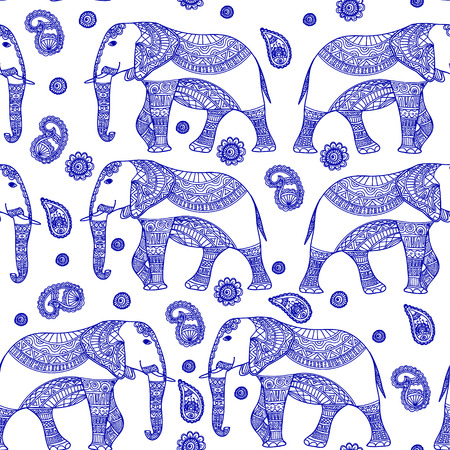 persia: Seamless Pattern with Hand Drawn Vintage vector Indian elephant. Zenart Stylized.For Hindu, African, Indian, Thai, boho design, spiritual print, wrapping and textiles.