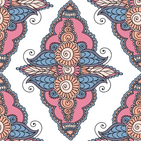 used ornament: Seamless Beautiful Indian floral ornament can be used as a greeting card. Beautiful Indian floral ornament. Ethnic Mandala. Henna tattoo style.
