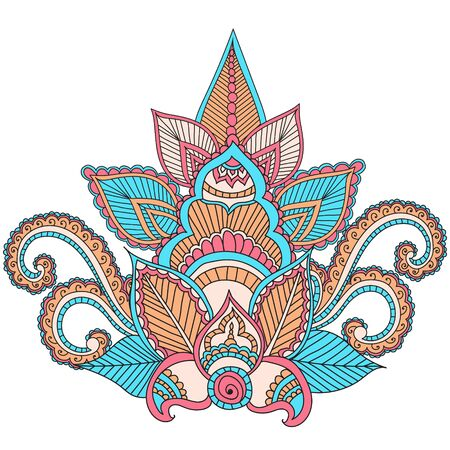 used ornament: Beautiful Indian floral ornament can be used as a greeting card. Beautiful Indian floral ornament. Ethnic Mandala. Henna tattoo style. Illustration