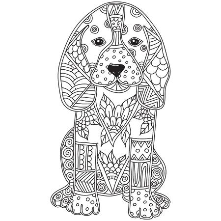 犬アダルト antistress または子供たちのページを着色します。手描き動物落書き。タトゥー、ポスター、印刷物、t シャツのスケッチします。ベクトル
