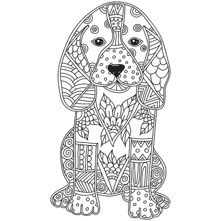 coloring pages to print: Dog Adult antistress or children coloring page. Hand drawn animal doodle. Sketch for tattoo, poster, print, t-shirt . Vector illustration