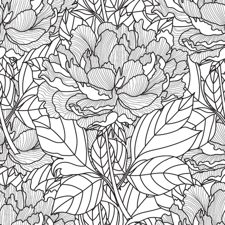 peony black: Seamless Peony bouquet.Coloring book page for adults. Hand drawn artwork. Love bohemia concept for wedding invitation, card, ticket, branding, label. Gift for girl, women. Black and white. Illustration