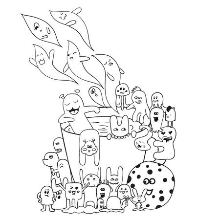 Colorear Páginas Para Adultos Para Dar Color. Dibujado A Mano Las ...