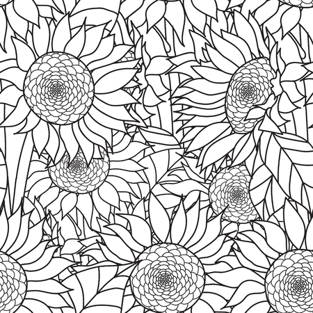 leaf line: Seamless Sunflowers bouquet. Vector. Coloring book page for adults.