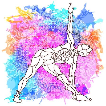 siluetas mujeres: chica en pose de yoga sobre modelo de la mandala ronda adornado. concepto de yoga. El diseño decorativo para la cubierta, camiseta, cartel hippie, folleto. La astrología, la geometría sagrada. hipnóticos colores psicodélicos. Vectores