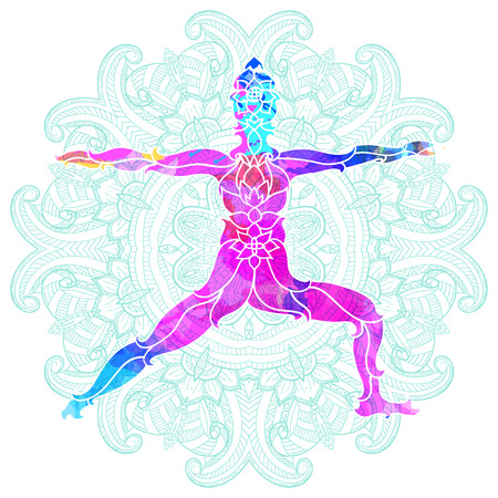 decorative colorful yoga pose over ornate round mandala pattern. Yoga concept. Decorative design for cover, t-shirt, hippie poster, flyer.  イラスト・ベクター素材