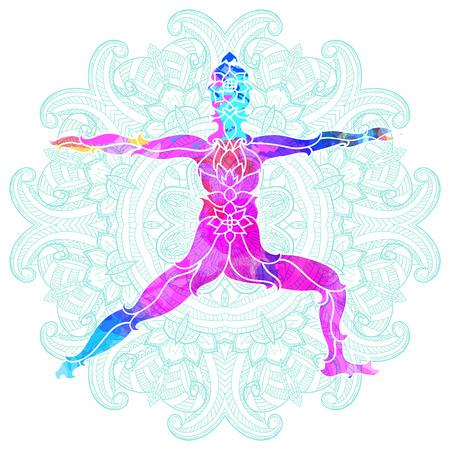 decorative colorful yoga pose over ornate round mandala pattern. Yoga concept. Decorative design for cover, t-shirt, hippie poster, flyer. Illusztráció