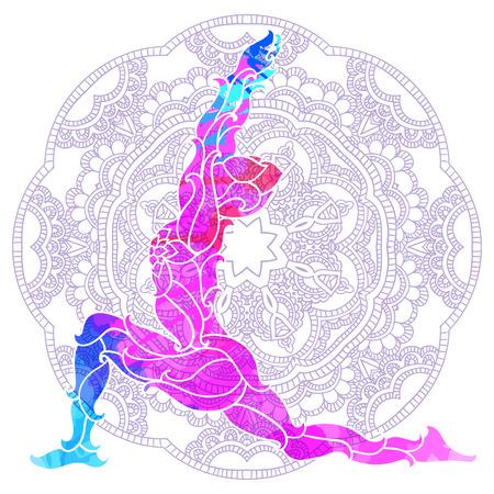 decorative colorful yoga pose over ornate round mandala pattern. Yoga concept. Decorative design for cover, t-shirt, hippie poster, flyer. Illustration