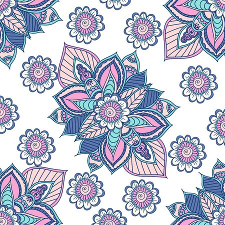 used ornament: Seamless Indian floral ornament can be used as a greeting card. Indian floral ornament. Ethnic Mandala. Henna tattoo style. Illustration