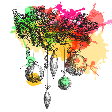 fur tree: Hand drawn sketch Fur tree branch with New Year and Christmas decorations. Christmas and New Year element with colorful watercolor blots Illustration