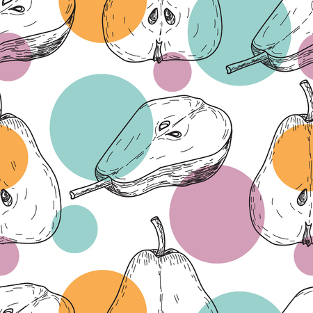 Seamles pattern vector hand made sketch illustration of engraving pear with multi colored circles on white background Illustration