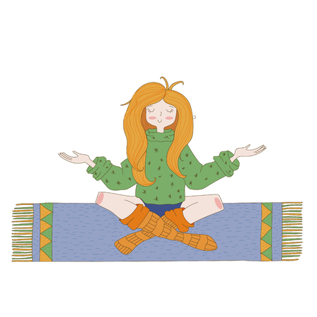 Happy hippie girl, bright colored handdrawn vector. Love and peace illustration. Meditation theme.