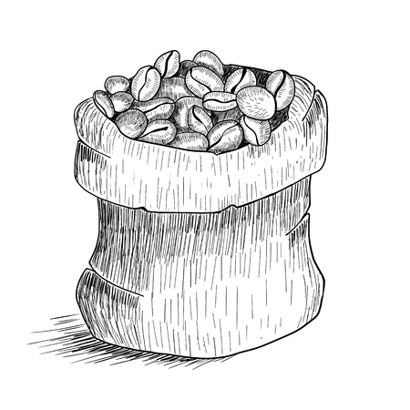 Hand drawn bag with coffee beans isolated on white background. Line art style