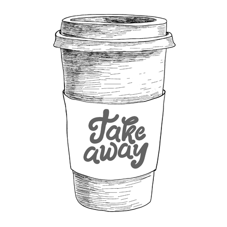 Mão desenhada doodle desenho vintage papel xícara de café takeaway Menu para restaurante, café, bar, cafeteria Ilustración de vector