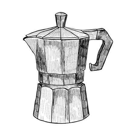 Sketch of Coffee maker Illustrazione di caffè espresso a mano in stile incisione per il menu o il caffè. Vettoriali