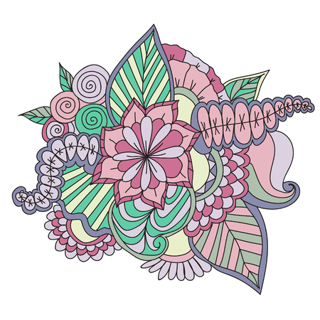 Colorful decorative hand drawn doodle nature ornamental curl vector sketchy pattern.