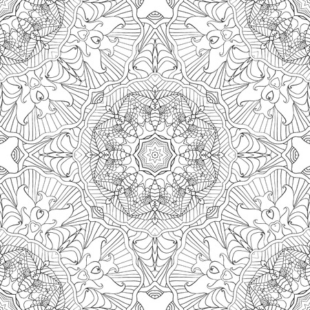 Coloring pages for adults.Decorative hand drawn doodle nature ornamental curl vector sketchy seamless pattern Ilustrace