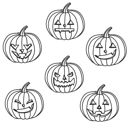 Halloween black and white pumpkins with different facial expressions
