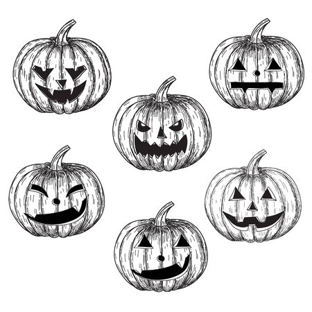 Halloween black and white pumpkins with different facial expressions. Ilustração