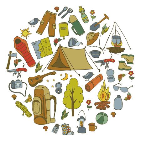 Set of hand drawn sketch camping equipment symbols and icons. Vector illustration. Illustration