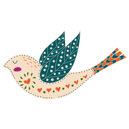Illustration with birds and flowers in a Scandinavian style. Folk art Illustration