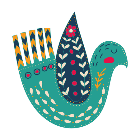 Illustration with birds and flowers in a Scandinavian style. Folk art.
