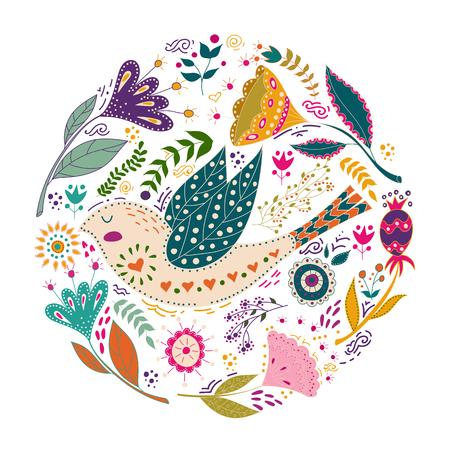 Ilustración colorida del vector determinado del arte con los pájaros y las flores hermosos. Cartel de arte para la decoración de su interior y para su uso en su diseño único. Estilo escandinavo. Arte popular. Foto de archivo - 93541383