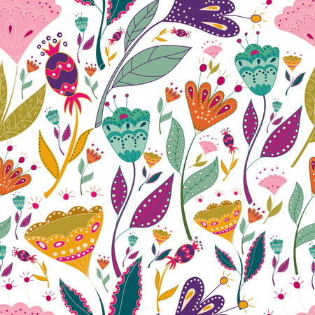 Modelo colorido del vector inconsútil del modelo con las flores hermosas de los pájaros. Cartel de arte para la decoración de su interior y para su uso en su diseño único. Estilo escandinavo. Arte popular.