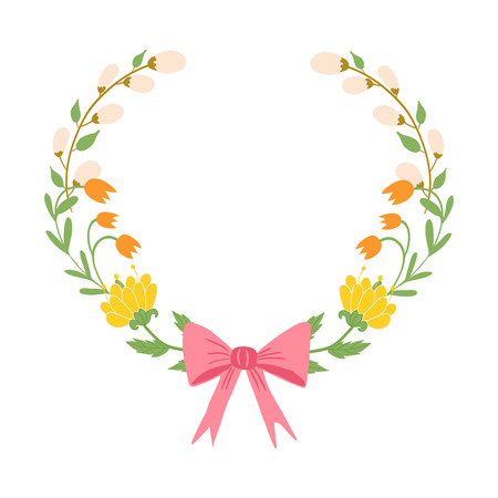 Beautiful easter wreath. Elegant floral collection with isolated leaves and flowers, hand drawn. Vector illustration.