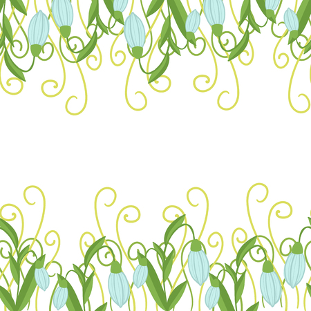 greeting card with seamless floral border. Perfect for spring holiday invitation. Ilustração