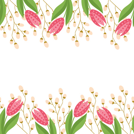 greeting card with seamless floral border. Perfect for spring holiday invitation. Standard-Bild - 101816166