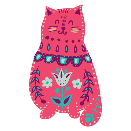 vector with beautiful cat in pattern and flowers. 矢量图像