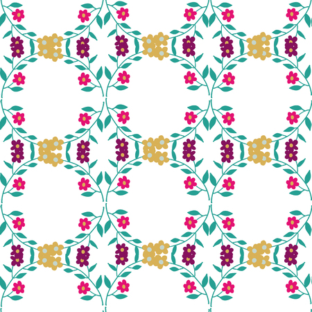 Seamless pattern illustration with beautiful flowers. Scandinavian style. Folk art. Standard-Bild