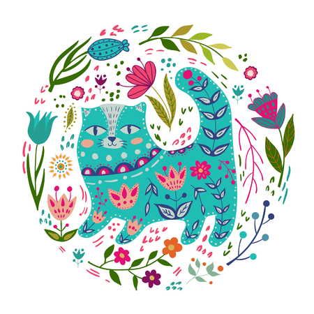 Folk set vector colorful illustration with beautiful cat and flowers. Scandinavian style.